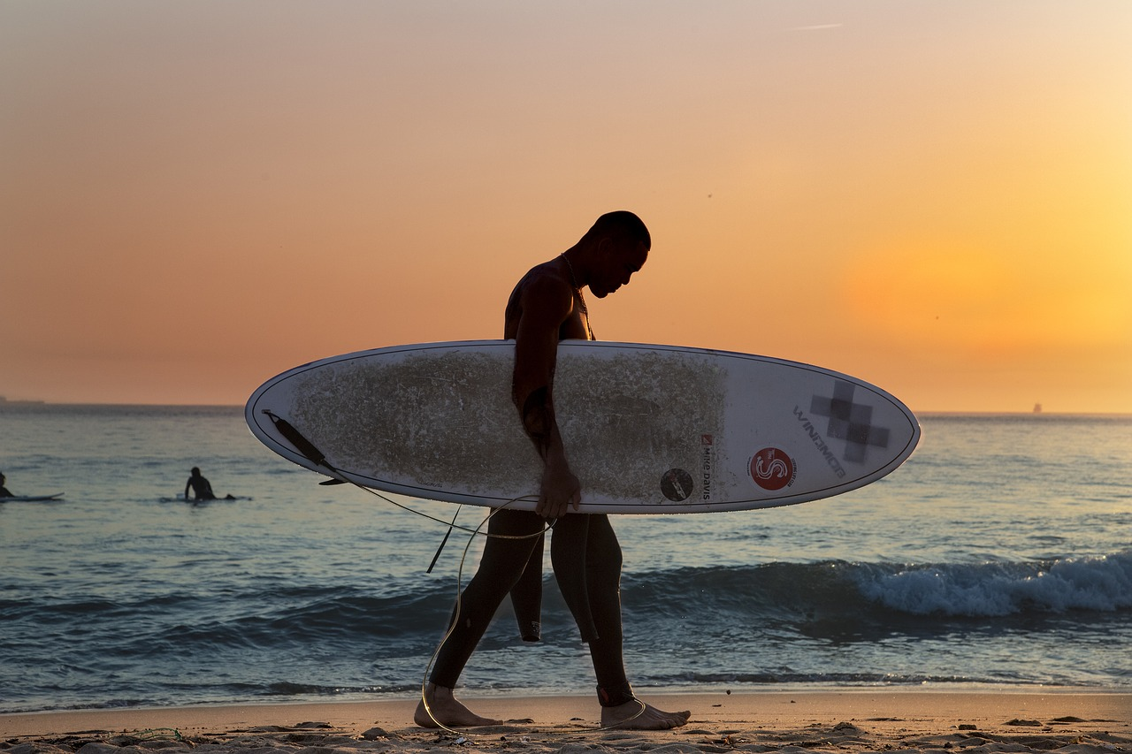 surf, beach, sunset