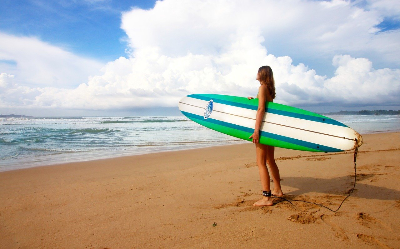 surfing, girl, female