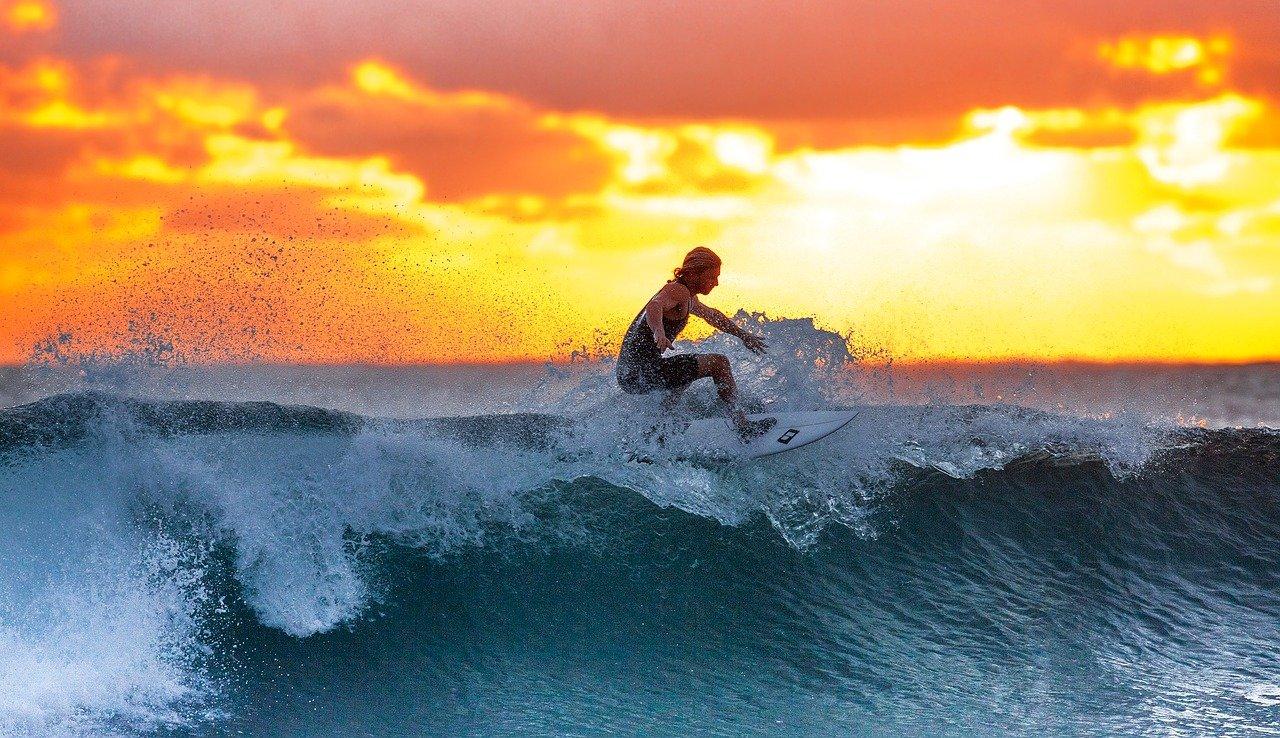 surfing, sunset, sea